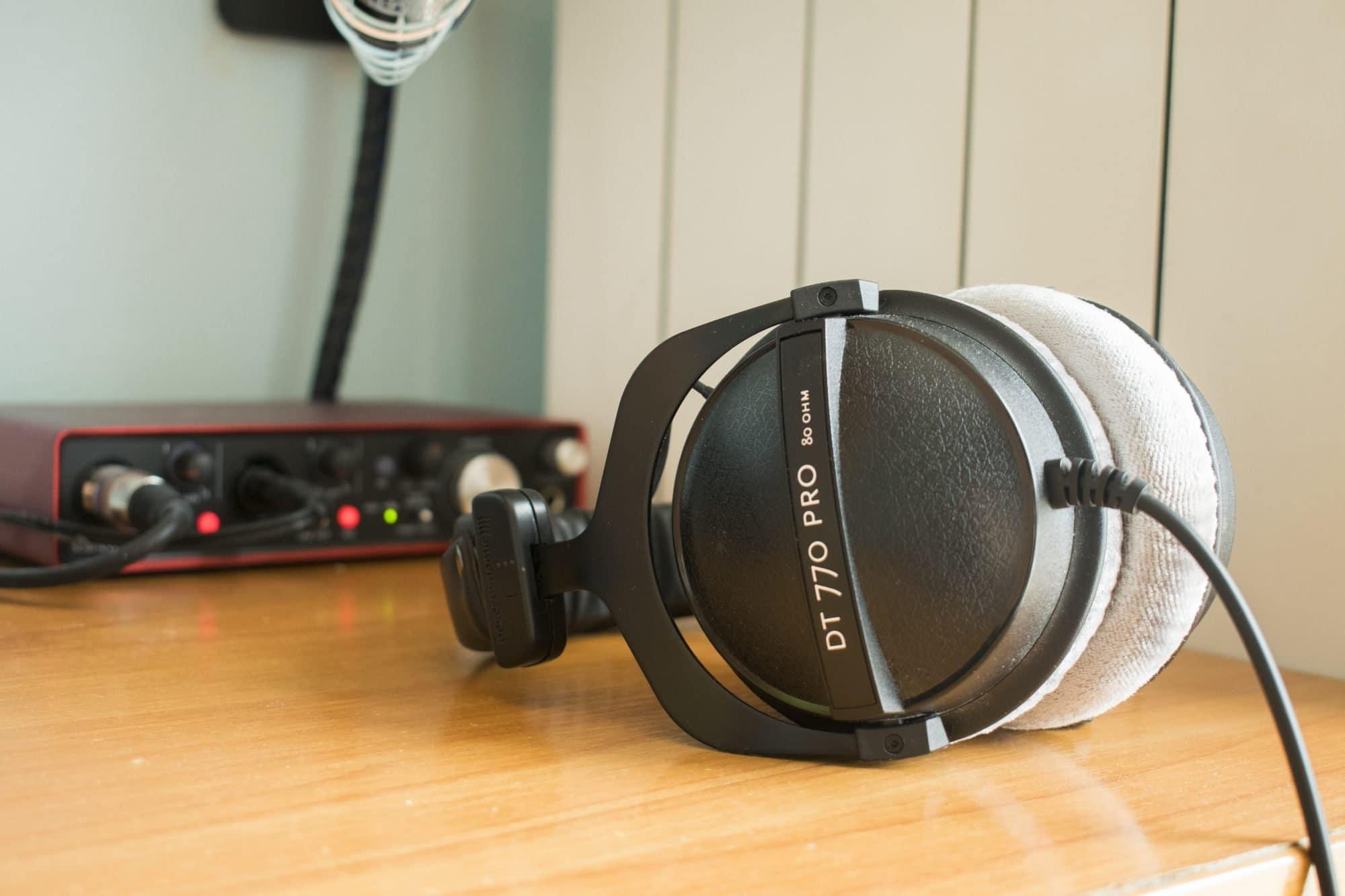 Headphones Beyerdynamic DT 770 PRO in a croatian voiceover studio on desk